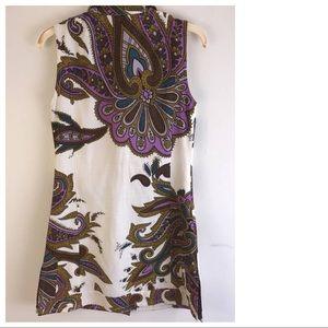 ETRO Milano linen paisley DRESS 46 6 medium